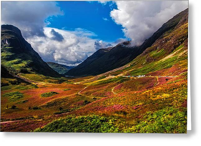 Highlands Of Scotland Greeting Cards - The Valley of Three Sisters. Glencoe. Scotland Greeting Card by Jenny Rainbow