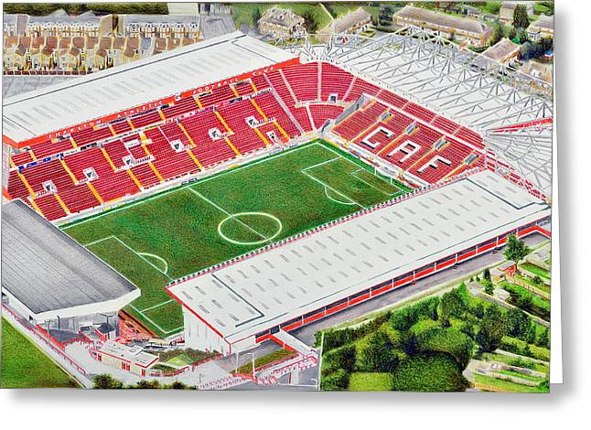 Soccer Greeting Cards Greeting Cards - The Valley Stadia Art - Charlton Athletic FC Greeting Card by Brian Casey