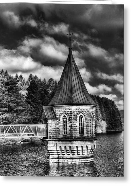 Waterscapes Of Wales Greeting Cards - The Valve Tower Mono Greeting Card by Steve Purnell