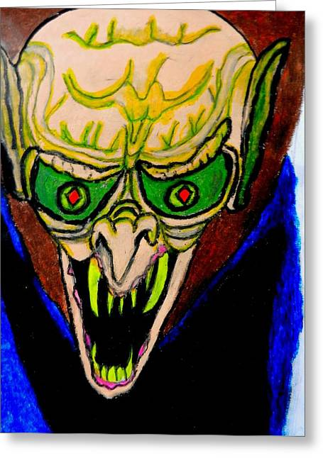 Monster Pastels Greeting Cards - The Vampire Bites Greeting Card by Jo-Ann Hayden