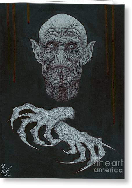 Best Sellers -  - Wave Art Greeting Cards - The Vampire Greeting Card by Wave