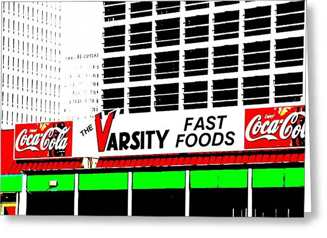Cheeseburger Greeting Cards - The Varsity Atlanta Pop Art Greeting Card by Dan Sproul
