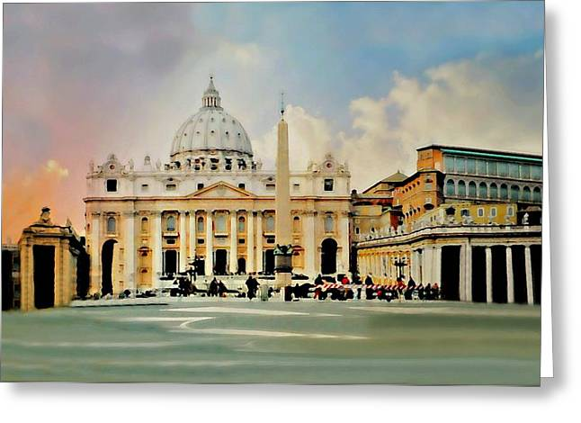 Italian Landscapes Greeting Cards - The Vatican Rome Greeting Card by Diana Angstadt