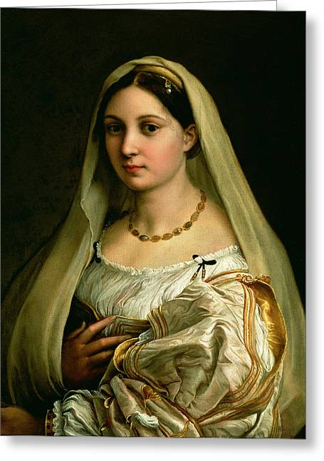 Necklace Greeting Cards - The Veiled Woman, Or La Donna Velata, C.1516 Oil On Canvas Greeting Card by Raphael