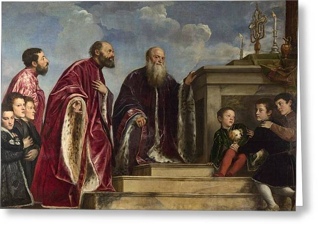True Cross Paintings Greeting Cards - The Vendramin Family Greeting Card by Titian