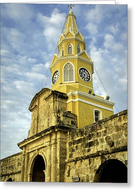 The Venerable Clock Tower, Torre Del Greeting Card by Jerry Ginsberg