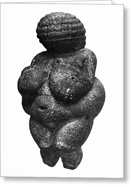 The Venus Of Willendorf, Side View Of Female Figurine, Gravettian Culture, Upper Paleolithic Greeting Card by Prehistoric