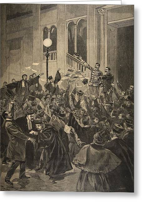 The Verdict Of The Zola Affair Greeting Card by F.L. & Tofani, Oswaldo Meaulle