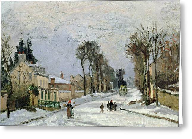 Xmas Paintings Greeting Cards - The Versailles Road at Louveciennes Greeting Card by Camille Pissarro