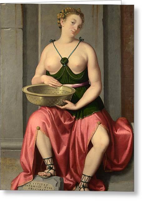 Vestal Greeting Cards - The Vestal Virgin Tuccia Greeting Card by Giovanni Battista Moroni