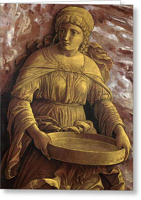 Vestal Greeting Cards - The Vestal Virgin Tuccia with a sieve Greeting Card by Andrea Mantegna