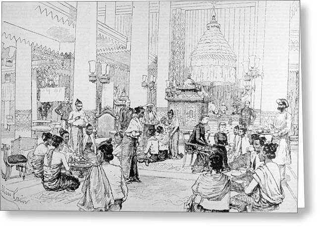 Drinking Greeting Cards - The Viceroy Of India In Burmah Burmese Ladies Taking Tea With Lady Dufferin In The Palace Greeting Card by Melton Prior