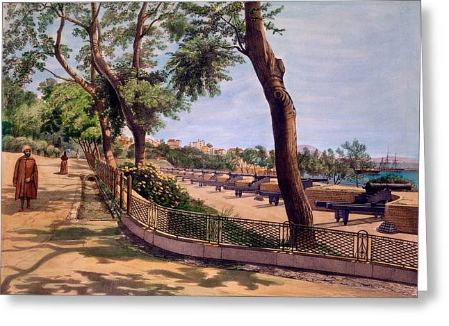 Weaponry Greeting Cards - The Victoria Battery, Gibraltar, Print Greeting Card by Captain J. M. Carter