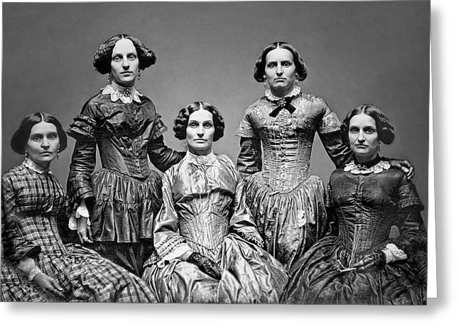 Corset Dresses Greeting Cards - THE VICTORIAN CLARK SISTERS c. 1850 Greeting Card by Daniel Hagerman