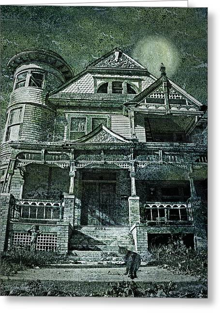 Creepy Cat Greeting Cards - The Victorian on Hawthorne Street Greeting Card by Nikolyn McDonald