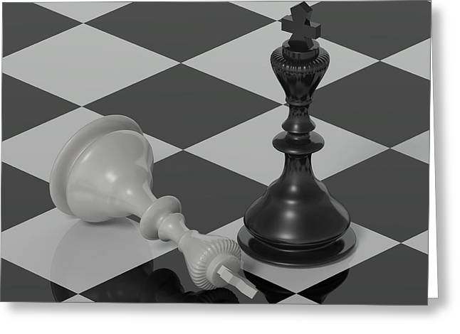 Chess Piece Digital Greeting Cards - The Victory  Greeting Card by Nogoud Fwete