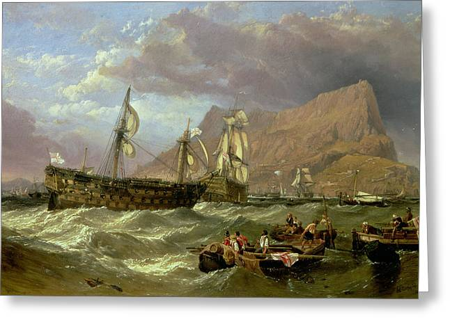 Ras Greeting Cards - The Victory Towed into Gibraltar Greeting Card by Clarkson R A Stanfield