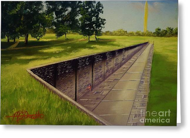 United States Pastels Greeting Cards - The Vietnam War Memorial Greeting Card by Darren McGrath