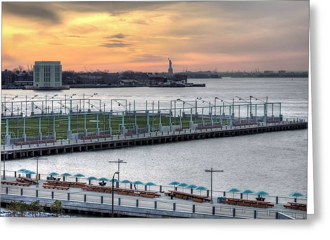 Governor Island Greeting Cards - The View From Brooklyn Heights  Greeting Card by JC Findley