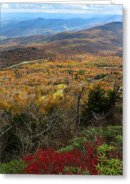 Smokey Mountain Drive Greeting Cards - The View from Grandfather Mountain Greeting Card by Andres Leon