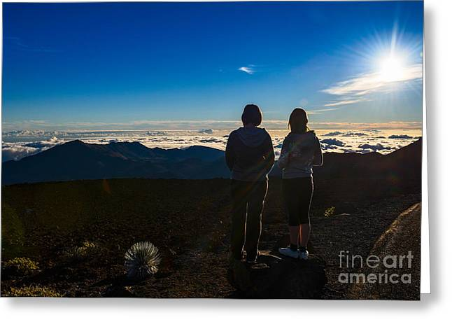 Above The Clouds Greeting Cards - The View from Here - summit of Haleakala Volcano in Maui. Greeting Card by Jamie Pham