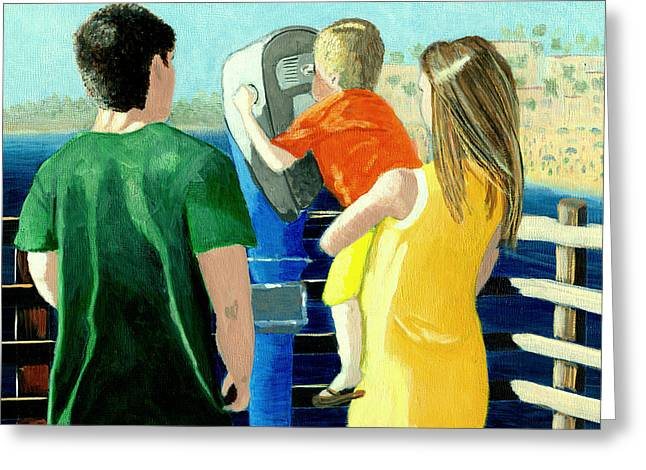 Happy Family Paintings Greeting Cards - The View from Oceanside Pier Greeting Card by Karyn Robinson