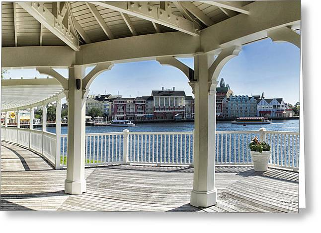 Walt Disney Boardwalk Greeting Cards - The View From The Boardwalk Gazebo at Disney World Greeting Card by Thomas Woolworth