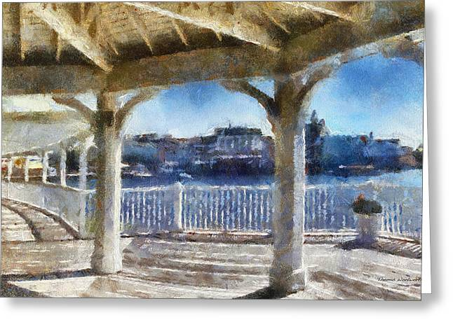 Epcot Center Greeting Cards - The View From The Boardwalk Gazebo WDW 02 Photo Art Greeting Card by Thomas Woolworth