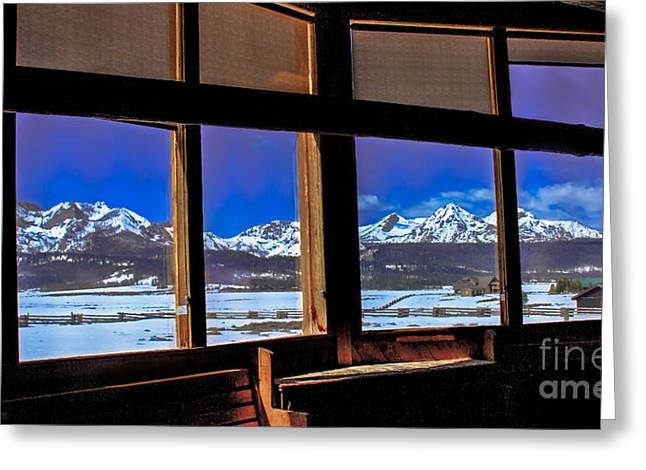 Haybales Greeting Cards - The View From The Sawtooth Valley Meditation Chapel Greeting Card by Robert Bales
