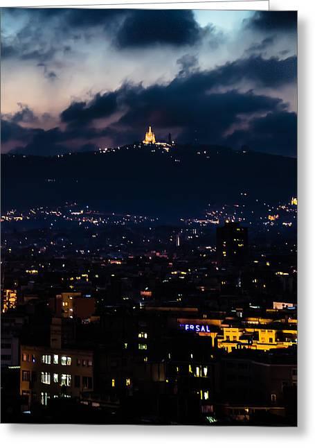 Barceloneta Greeting Cards - the View of Sagrada Familia Greeting Card by Sotiris Filippou