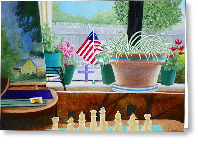 Chess Piece Paintings Greeting Cards - The View Greeting Card by Tom  DeBenedittis