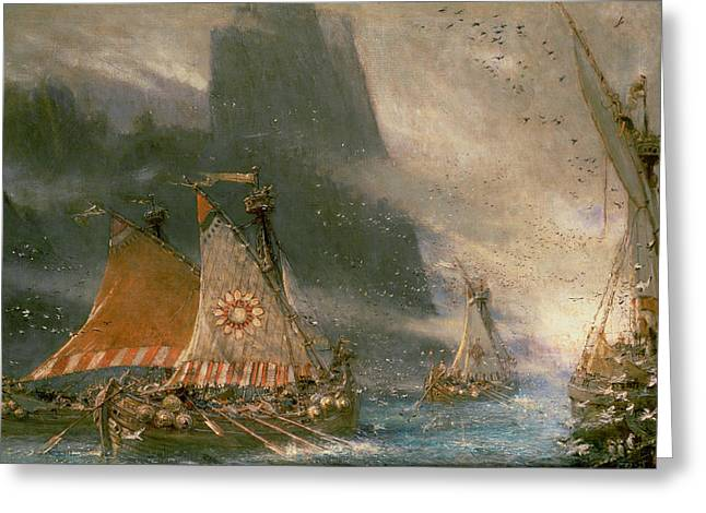 Vikings Paintings Greeting Cards - The Viking Sea Raiders Greeting Card by Albert Goodwin