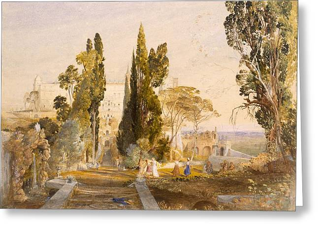 Italian Landscapes Drawings Greeting Cards - The Villa Deste, Tivoli, 1837 Greeting Card by Samuel Palmer