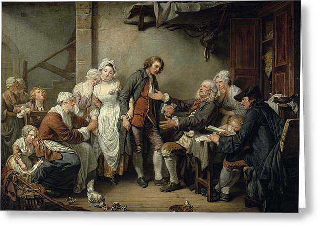 The Village Agreement, 1761 Oil On Canvas Greeting Card by Jean Baptiste Greuze