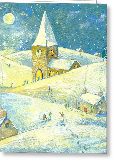The Church Greeting Cards - The Village Carol Service, 2008 Gouache On Paper Greeting Card by David Cooke