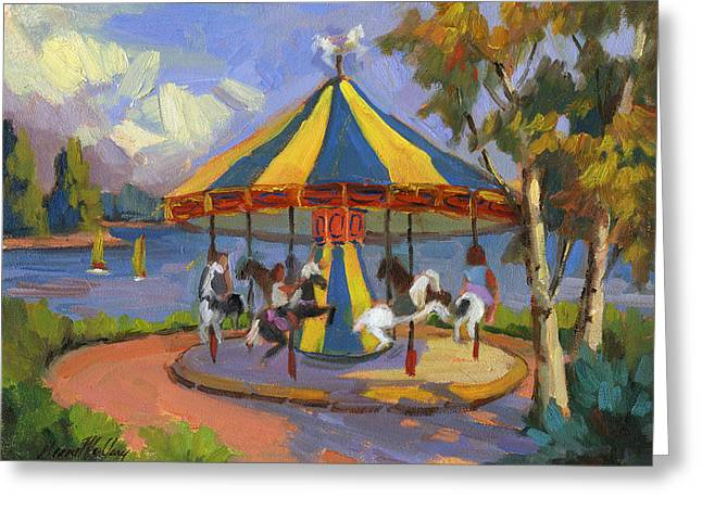 The Village Carousel At Lake Arrowhead Greeting Card by Diane McClary