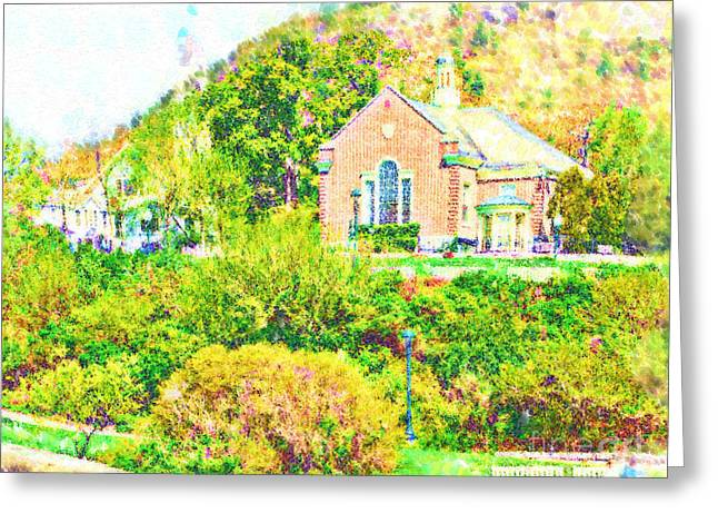 New England Village Greeting Cards - The Village Church Greeting Card by Kirt Tisdale