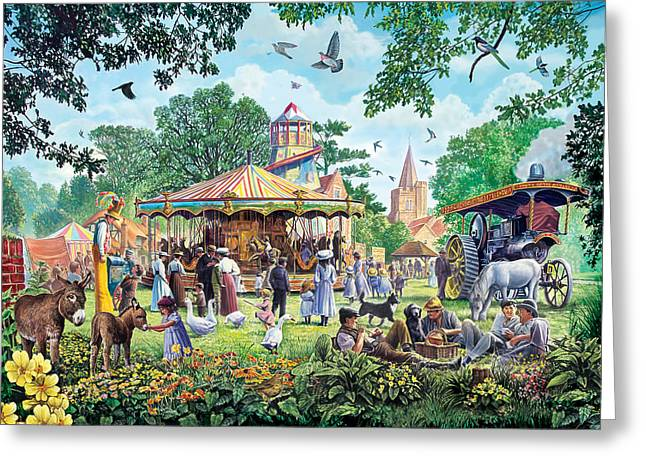 Merry Go Round Greeting Cards - The Village Fayre  Greeting Card by Steve Crisp