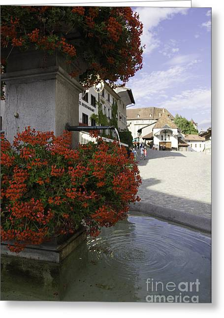 Gruyere Greeting Cards - The Village Fountain Greeting Card by Sophie De Roumanie