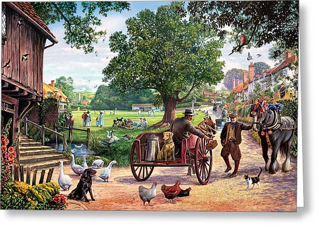 Crisp Greeting Cards - The Village Green Greeting Card by Steve Crisp