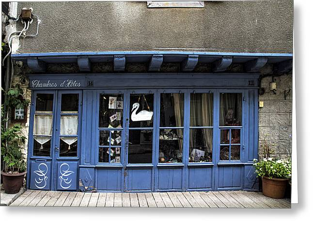 Entrance Shop Front Greeting Cards - The Village Hotel Greeting Card by Nomad Art And  Design