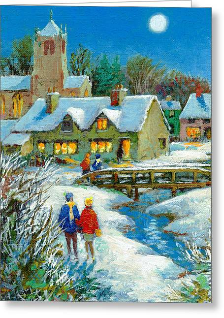 Man In The Moon Greeting Cards - The Village In Winter, 2012 Acrylic On Paper Greeting Card by Stanley Cooke