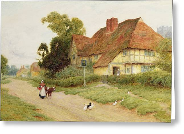 Old Country Roads Paintings Greeting Cards - The Village Inn Greeting Card by Arthur Claude Strachan