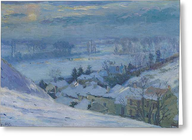 Snowy Night Night Paintings Greeting Cards - The Village of Herblay under snow Greeting Card by Albert-Charles Lebourg