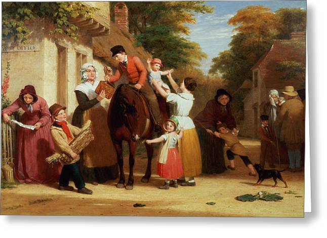 Postman Greeting Cards - The Village Post Office Greeting Card by William Frederick Witherington