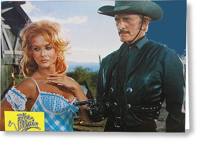 Kirk Douglas Greeting Cards - The Villain lobby card re imagined Greeting Card by David Lee Guss