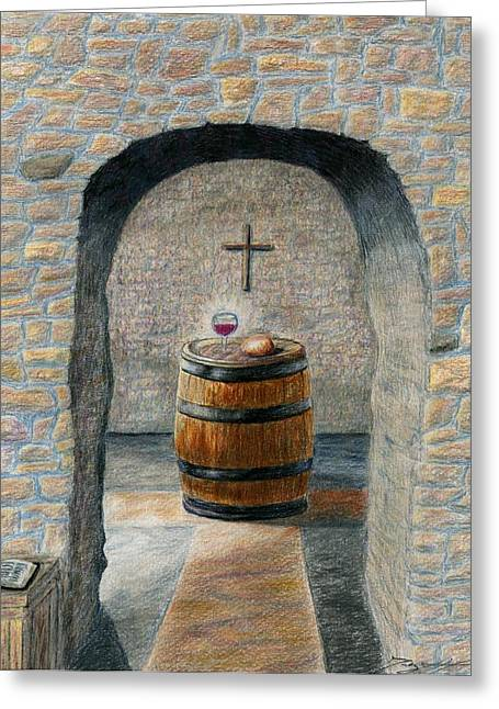Cellar Drawings Greeting Cards - The Vinedressers Table Greeting Card by Terry Hall