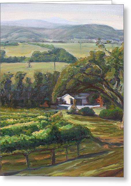 Grapevine Leaf Paintings Greeting Cards - The Vineyard Greeting Card by Ruthie Briggs-Greenberg