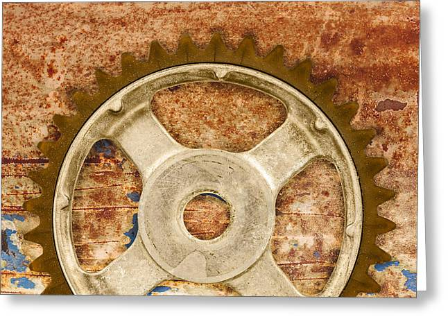 Mechanism Photographs Greeting Cards - The Vintage Gear Greeting Card by Martin Bergsma