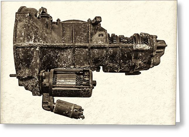 Gearbox Greeting Cards - The Vintage Gearbox - Sepia Greeting Card by Martin Bergsma